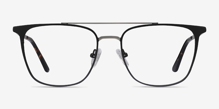 Contact Black Metal Eyeglass Frames from EyeBuyDirect, Front View
