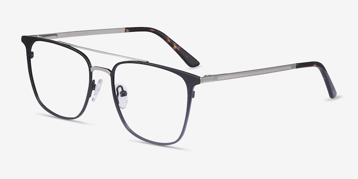 Contact Black Metal Eyeglass Frames from EyeBuyDirect, Angle View