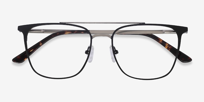 Contact Black Metal Eyeglass Frames from EyeBuyDirect, Closed View