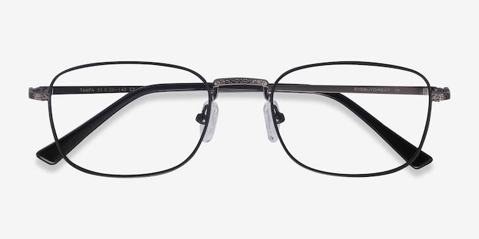 Tampa Black Metal Eyeglass Frames from EyeBuyDirect, Closed View