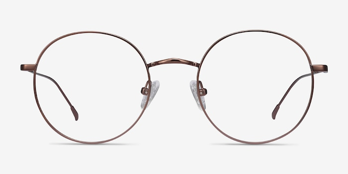 Dapper Coffee Metal Eyeglass Frames from EyeBuyDirect, Front View