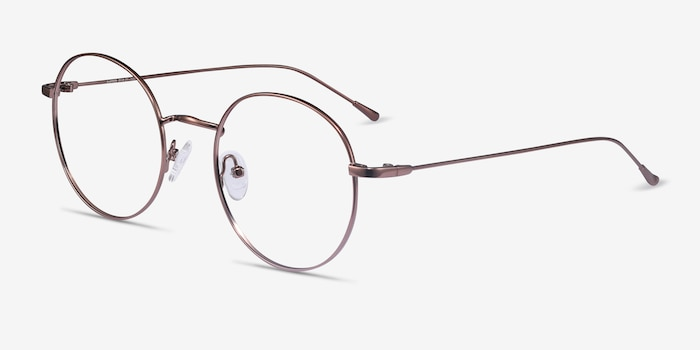 Dapper Coffee Metal Eyeglass Frames from EyeBuyDirect, Angle View