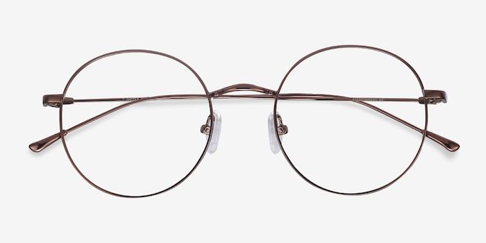 Dapper Coffee Metal Eyeglass Frames from EyeBuyDirect, Closed View