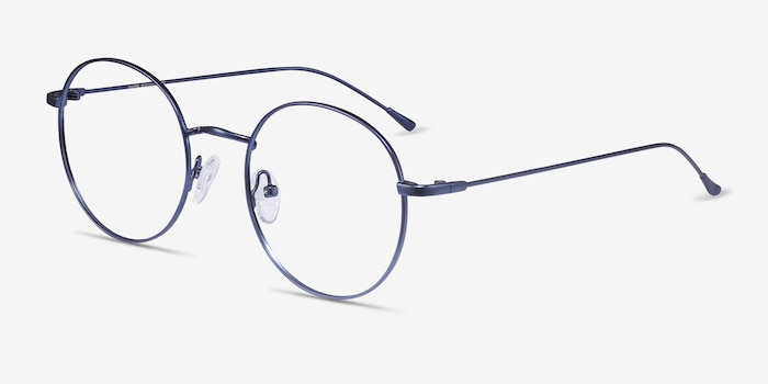 Dapper Navy Metal Eyeglass Frames from EyeBuyDirect, Angle View