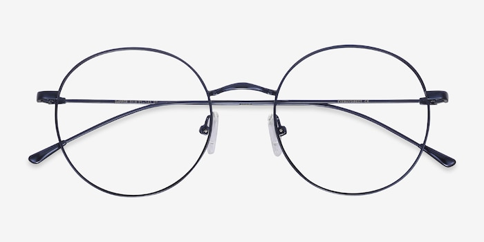 Dapper Navy Metal Eyeglass Frames from EyeBuyDirect, Closed View