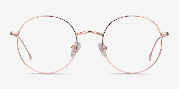 Dapper Rose Gold Metal Eyeglass Frames from EyeBuyDirect, Front View