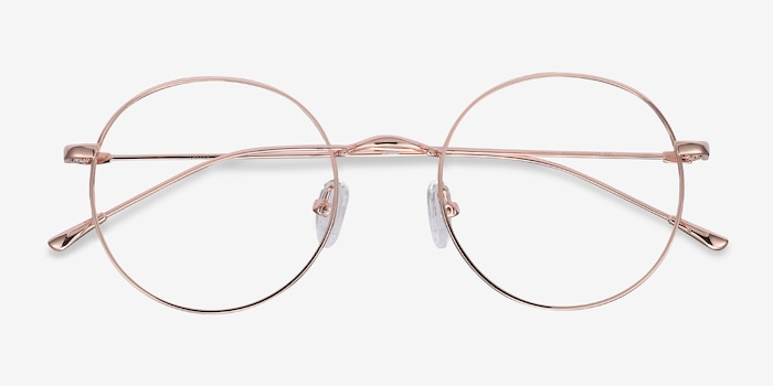 Dapper Rose Gold Metal Eyeglass Frames from EyeBuyDirect, Closed View