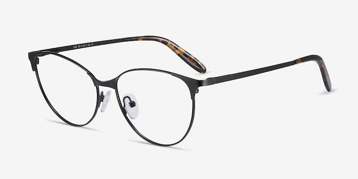 Sisi Black Metal Eyeglass Frames from EyeBuyDirect, Angle View