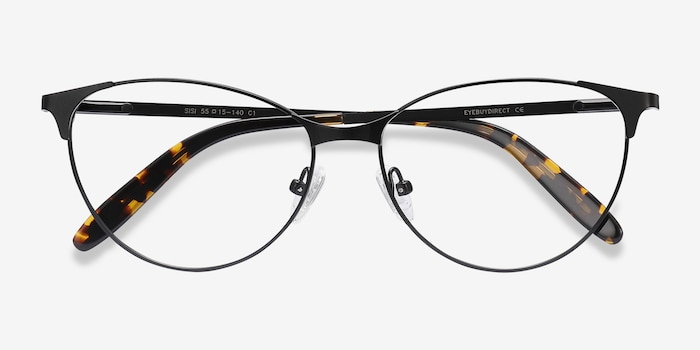 Sisi Black Metal Eyeglass Frames from EyeBuyDirect, Closed View