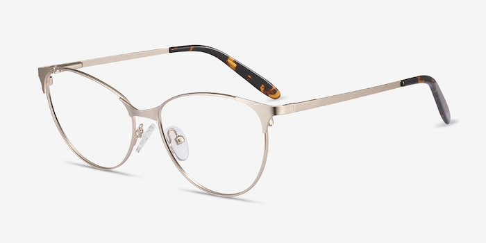 Sisi Rose Gold Metal Eyeglass Frames from EyeBuyDirect, Angle View