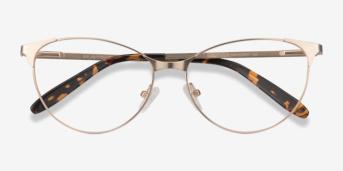 Sisi Rose Gold Metal Eyeglass Frames from EyeBuyDirect, Closed View