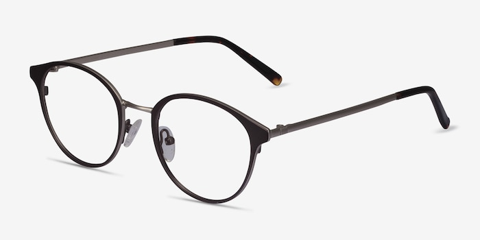 Broadway Gunmetal Metal Eyeglass Frames from EyeBuyDirect, Angle View
