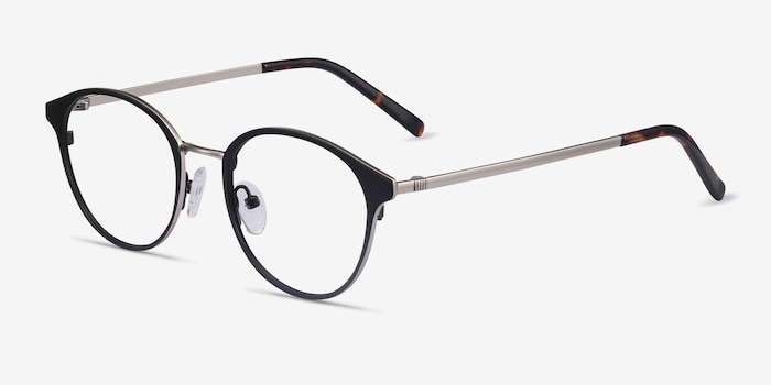 Broadway Black Metal Eyeglass Frames from EyeBuyDirect, Angle View