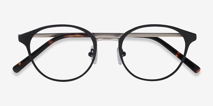 Broadway Black Metal Eyeglass Frames from EyeBuyDirect, Closed View