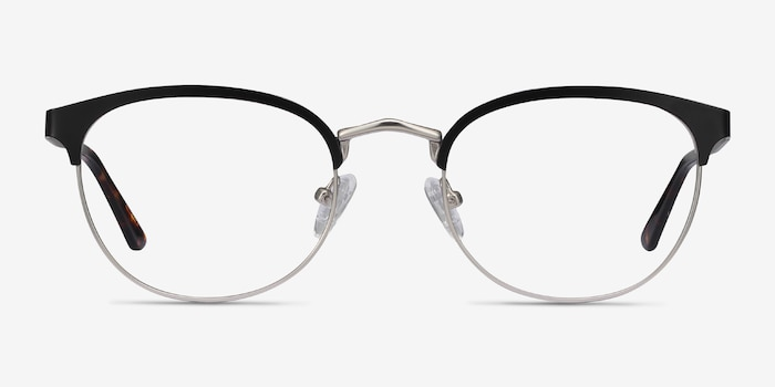 The Works Black Metal Eyeglass Frames from EyeBuyDirect, Front View
