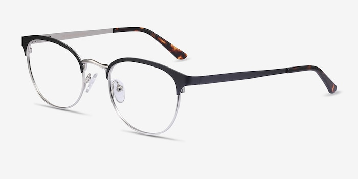 The Works Black Eyeglass Frames from EyeBuyDirect, Angle View