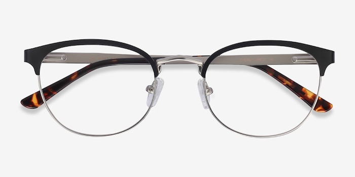 The Works Black Metal Eyeglass Frames from EyeBuyDirect, Closed View