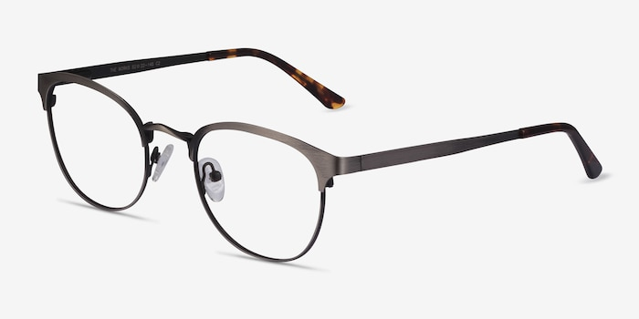 The Works Gunmetal Metal Eyeglass Frames from EyeBuyDirect, Angle View