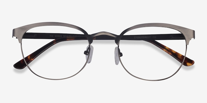 The Works Gunmetal Metal Eyeglass Frames from EyeBuyDirect, Closed View