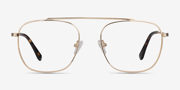 Moxie Golden Metal Eyeglass Frames from EyeBuyDirect, Front View