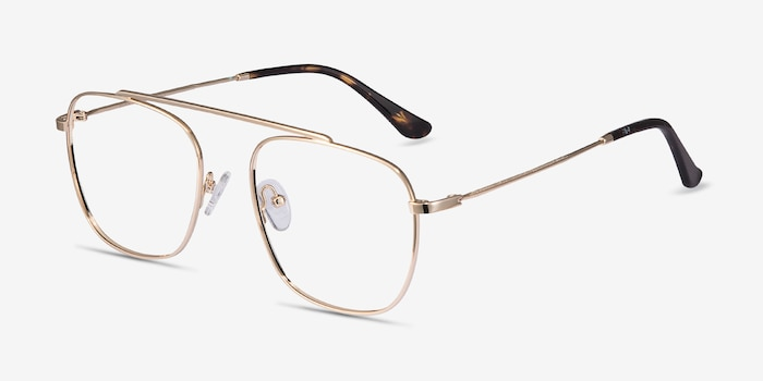 Moxie Golden Metal Eyeglass Frames from EyeBuyDirect, Angle View
