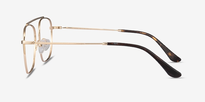 Moxie Golden Metal Eyeglass Frames from EyeBuyDirect, Side View