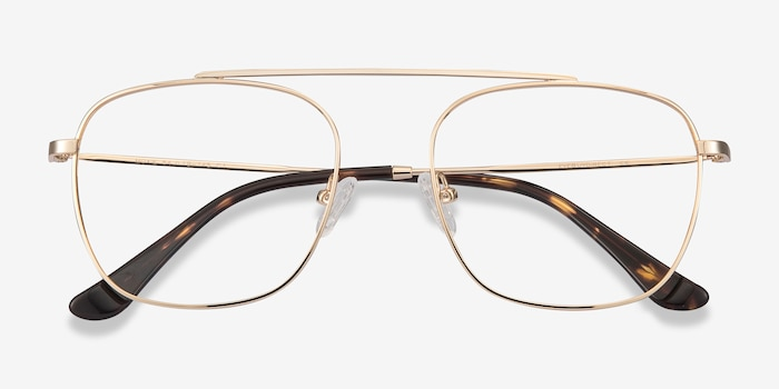 Moxie Golden Metal Eyeglass Frames from EyeBuyDirect, Closed View