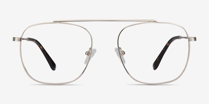 Moxie Silver Metal Eyeglass Frames from EyeBuyDirect, Front View