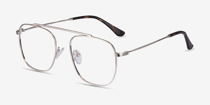 Moxie Silver Metal Eyeglass Frames from EyeBuyDirect, Angle View