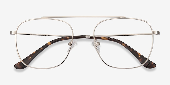 Moxie Silver Metal Eyeglass Frames from EyeBuyDirect, Closed View