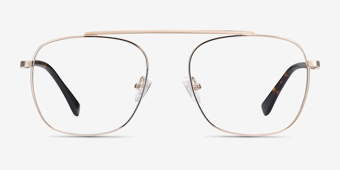 Moxie Rose Gold Metal Eyeglass Frames from EyeBuyDirect, Front View