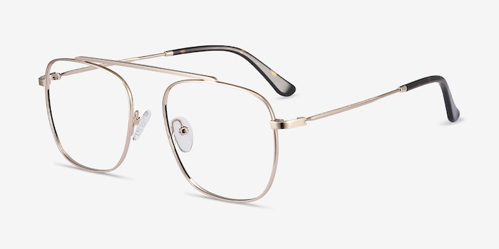 Moxie Rose Gold Metal Eyeglass Frames from EyeBuyDirect, Angle View