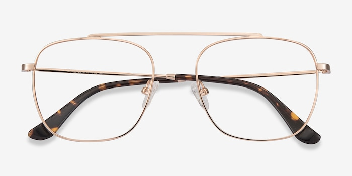Moxie Rose Gold Metal Eyeglass Frames from EyeBuyDirect, Closed View