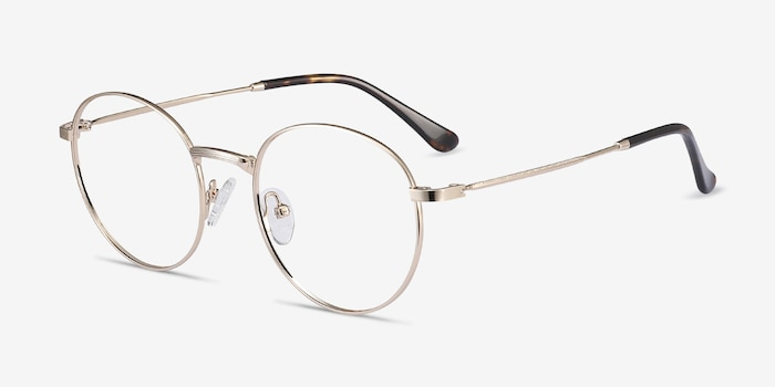 Bistro Golden Metal Eyeglass Frames from EyeBuyDirect, Angle View