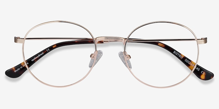Bistro Golden Metal Eyeglass Frames from EyeBuyDirect, Closed View