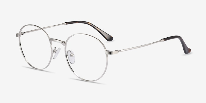 Bistro Silver Metal Eyeglass Frames from EyeBuyDirect, Angle View