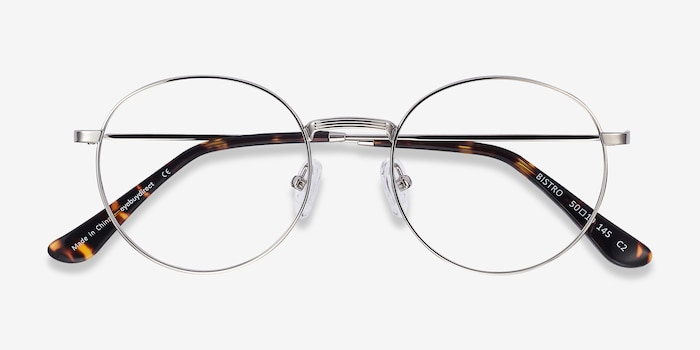 Bistro Silver Metal Eyeglass Frames from EyeBuyDirect, Closed View