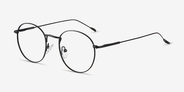 Novel Black Metal Eyeglass Frames from EyeBuyDirect, Angle View