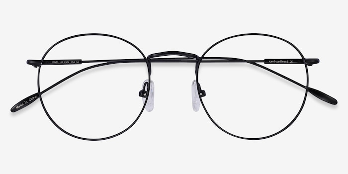 Novel Black Metal Eyeglass Frames from EyeBuyDirect, Closed View