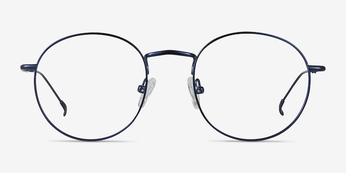 Novel Navy Metal Eyeglass Frames from EyeBuyDirect, Front View