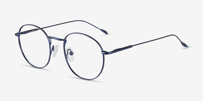 Novel Navy Metal Eyeglass Frames from EyeBuyDirect, Angle View