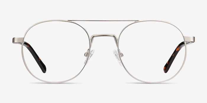 Lock XL Silver Metal Eyeglass Frames from EyeBuyDirect, Front View