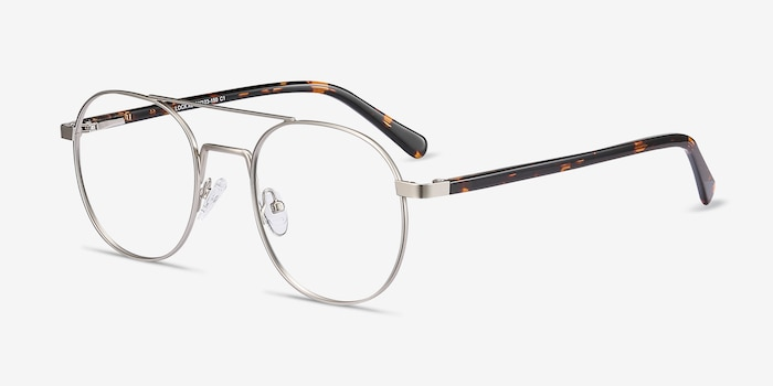 Lock XL Silver Metal Eyeglass Frames from EyeBuyDirect, Angle View