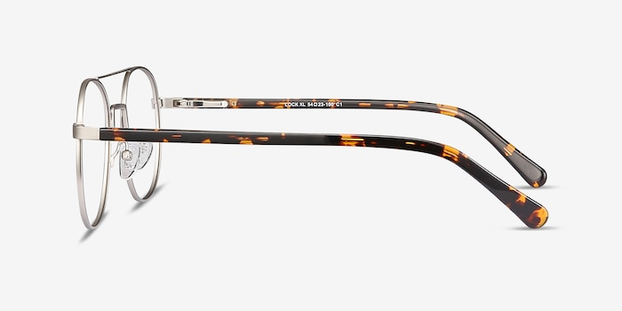 Lock XL Silver Metal Eyeglass Frames from EyeBuyDirect, Side View