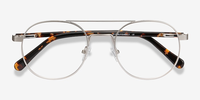 Lock XL Silver Metal Eyeglass Frames from EyeBuyDirect, Closed View