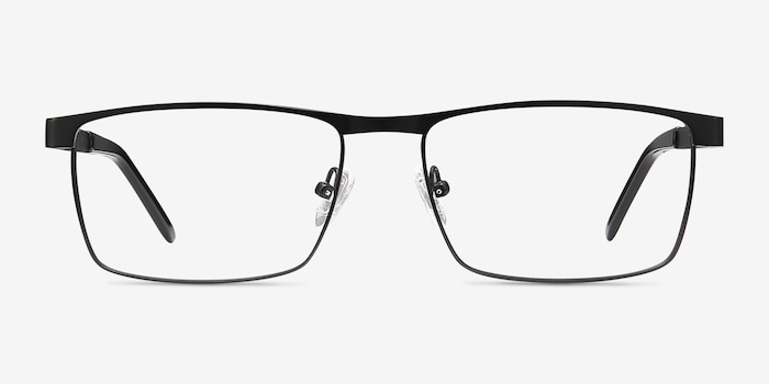 Danno Black Metal Eyeglass Frames from EyeBuyDirect, Front View