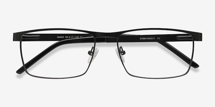 Danno Black Metal Eyeglass Frames from EyeBuyDirect, Closed View