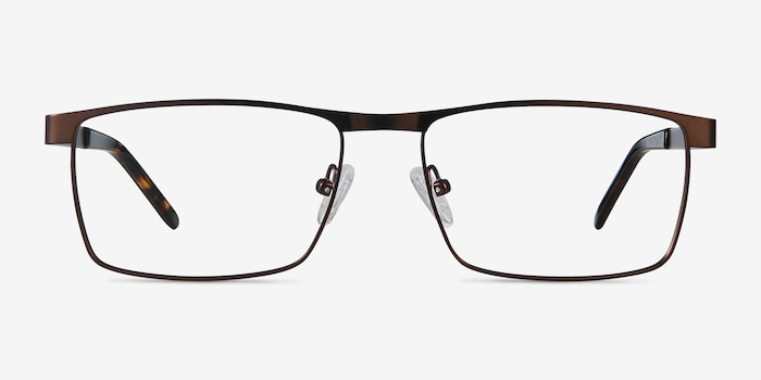 Danno Brown Metal Eyeglass Frames from EyeBuyDirect, Front View