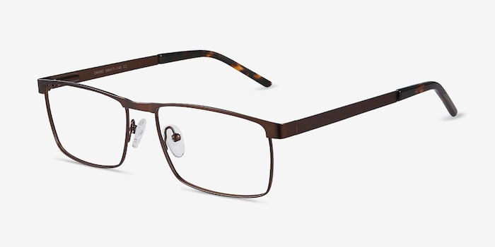 Danno Brown Metal Eyeglass Frames from EyeBuyDirect, Angle View