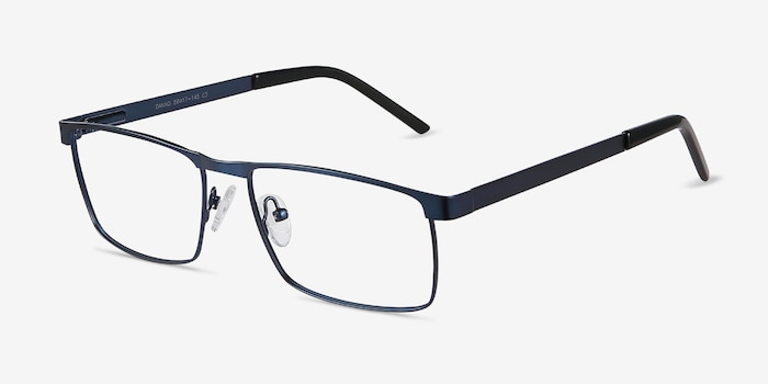 Danno Navy Metal Eyeglass Frames from EyeBuyDirect, Angle View
